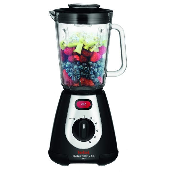Tefal Blendforce Maxi Glass BL2338 blender 2 L Tabletop blender Black,Silver 600 W