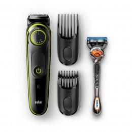 Braun Base BT3041 триммер для бороды Влажное и сухое Черный, Зеленый